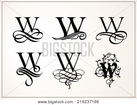 Vintage Set . Capital Letter W for Monograms and Logos. Beautiful Filigree Font. Victorian Style