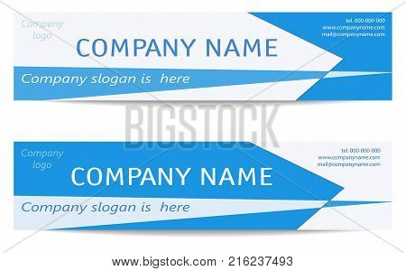 Banner Layouts set. Two Business light Blue Headers. Creative Modern Reverse Design. Template for promotion, advertising, marketing, presentations. Vector EPS10