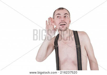 Funny nerd man with big ear eavesdrop isolated on white