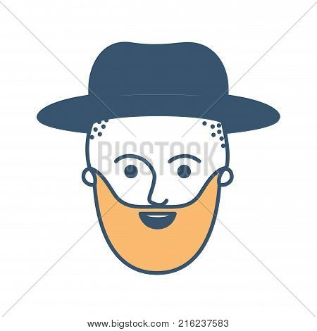 male face with hat and taper fade haircut and beard in color sections silhouette vector illustration