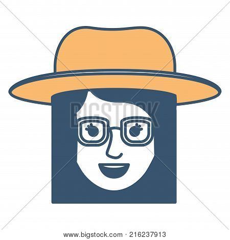female face with hat and glasses and short straight hairstyle in color sections silhouette vector illustration