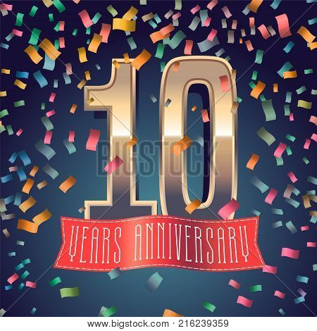 10 years anniversary vector icon, logo. Design element with golden number and festive background for decoration for 10th anniversary