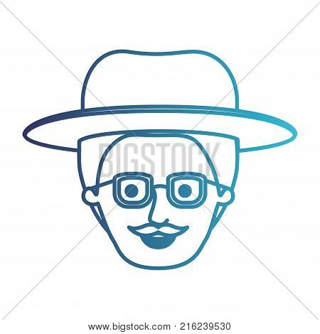 male face with hat and glasses with short hair and moustache in degraded blue silhouette vector illustration