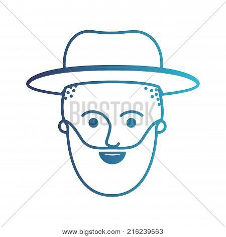 male face with hat and taper fade haircut and beard in degraded blue silhouette vector illustration