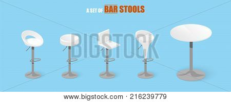 Set of bar stools and table. Bar high chair. Bar interior design. Vector illustration