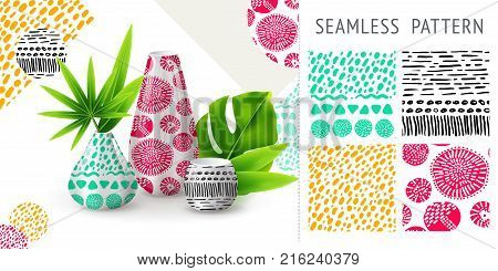 A set of summer seamless unique abstract patterns demonstrated on ceramic vase. Can be used for embroidery print or silkscreen on fabric. eps10