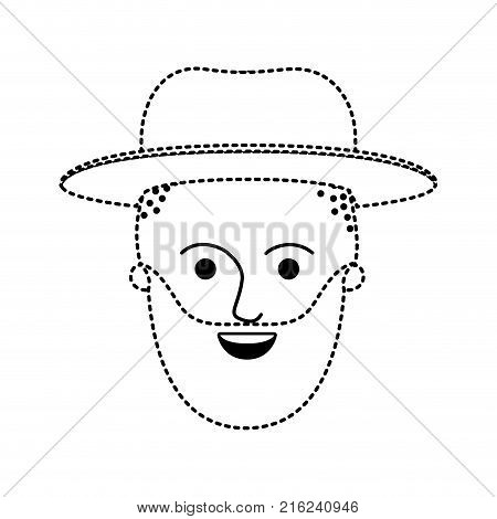 male face with hat and taper fade haircut and beard in black dotted silhouette vector illustration