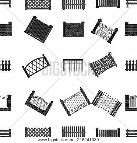 A fence of metal and bricks, wooden palisade and other varieties. A different fence set collection icons in black style vector symbol stock illustration .