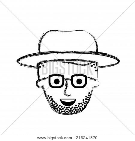 male face with hat and glasses and high fade haircut and stubble beard in monochrome blurred silhouette vector illustration