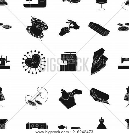coil with thread, sewing machine, fabric and other equipment. Sewing and equipment set collection icons in black style vector symbol stock illustration .