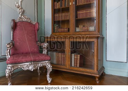 Berlin, Germany - March 2017: in the bibliotheca of Charlottenburg Palace