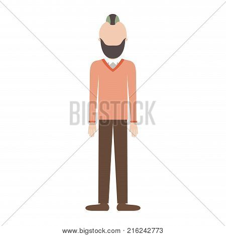 faceless man full body with beard and sweater and pants and shoes with taper fade haircut in colorful silhouette vector illustration