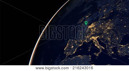 City lights on world map with a location pin on London . Europe. Elements of this image are furnished by NASA
