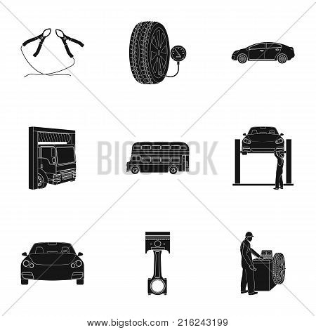 Car, lift, pump and other equipment black icons in set collection for design. Car maintenance station vector symbol stock illustration .
