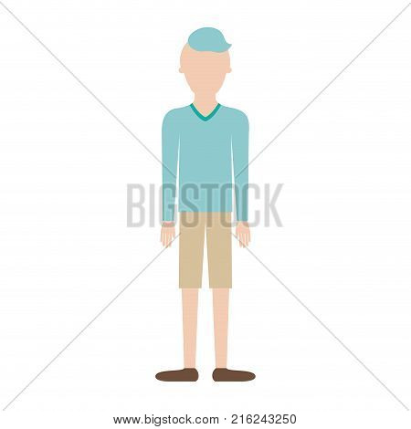 faceless man full body with t-shirt long sleeve and short pants and shoes with high fade haircut in colorful silhouette