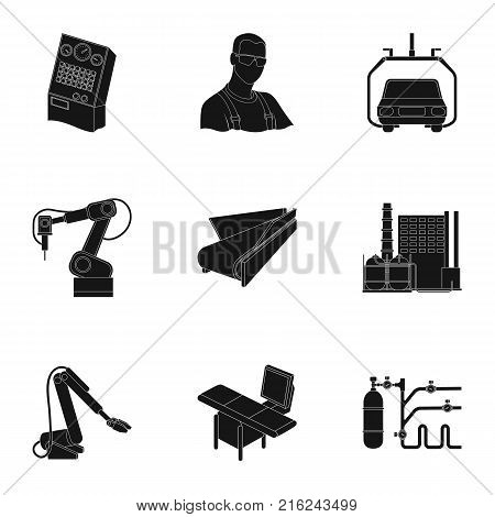 Automotive industry and other  icon in black style.Automated production systems icons in set collection.