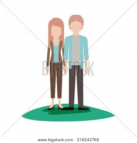 faceless couple colorful scene outdoor and her with blouse and jacket and pants and heel shoes with layered hair and him with shirt and jacket and pants and shoes with middle part hairstyle vector illustration