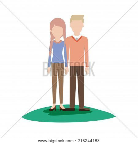 faceless couple colorful scene outdoor and her with blouse long sleeve and pants and heel shoes with braid and fringe hairstyle and him with sweater and pants and shoes with side parted hairstyle vector illustration