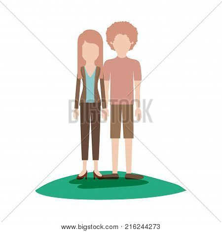faceless couple colorful scene outdoor and her with blouse and jacket and pants and heel shoes with layered hair and him with t-shirt and short pants and shoes with curly hair vector illustration