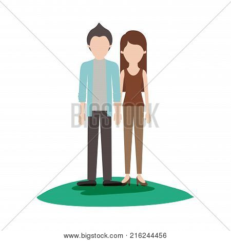 faceless couple colorful scene outdoor and him with shirt and jacket and pants and shoes with short hair and her with t-shirt sleeveless and pants and heel shoes with long straight hair vector illustration