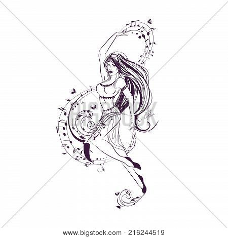 One of school subjects set music dance vector coloring page girl dancing next to treble clef