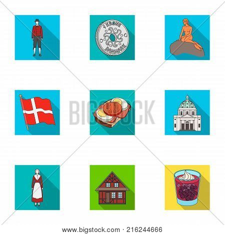 Country, Denmark, sea and other  icon in flat style.Bust, woman, gypsum, icons in set collection.