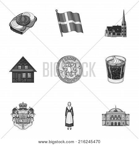 Country, Denmark, sea and other  icon in monochrome style.Bust, woman, gypsum, icons in set collection.