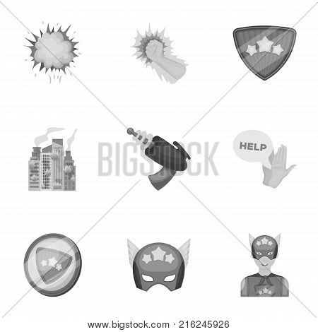 Shield, protection, superman, and other  icon in monochrome style.Opportunities, assistance, rescue icons in set collection.