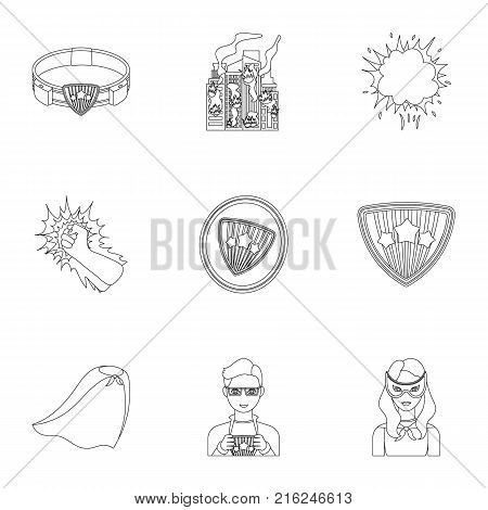 Shield, protection, superman, and other  icon in outline style.Opportunities, assistance, rescue icons in set collection.