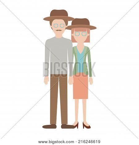 faceless couple colorful silhouette and both with hat and glasses and him with moustache and shirt and pants and shoes and her with blouse and jacket and skirt and heel shoes with mushroom hairstyle vector illustration