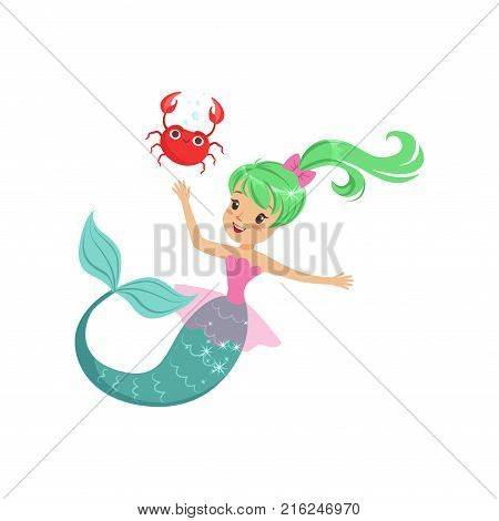Smiling mermaid girl swimming with friendly crab underwater. Cartoon mythical sea creature with green shiny hair and fish tail. Flat design vector illustration for sticker, postcard, book or print.