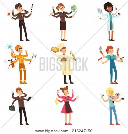 Cartoon multitasking people characters set. Men and women with many hands. Road policeman, teacher, doctor, fireman, chef, painter, businessman, hair stylist, photographer. Flat vector illustration.