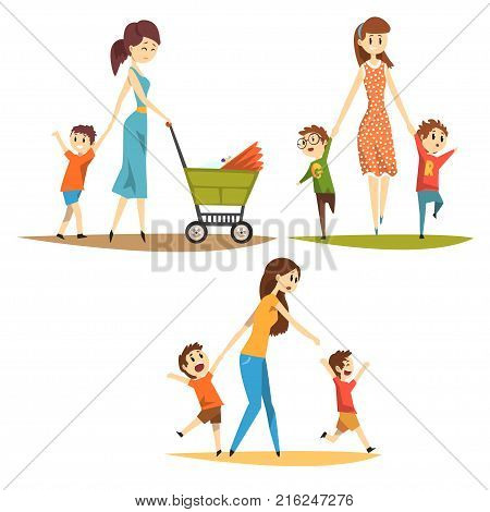 Cartoon character set of young mothers with kids. Pretty woman with newborn in baby carriage, preschool naughty boys. Motherhood and parenting concept. Flat vector illustration isolated on white.