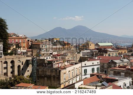 Panorama of napoli with vesuviusclouds and buildings