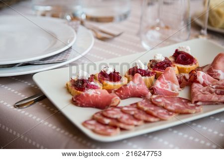 typical appetizer of the Piedmont piedmont region with cured meats