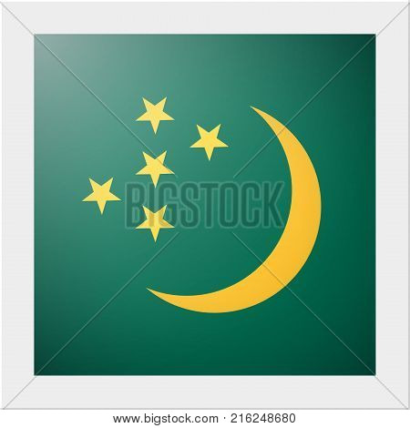 Asian country flag collection with photo of Turkmenistan flag , vector , illustration