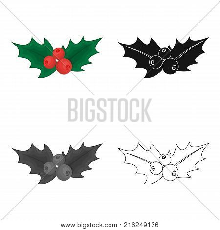 Holly symbol of Christmas single icon in cartoon, black, flat, monochrome style for design.Christmas vector symbol stock illustration .