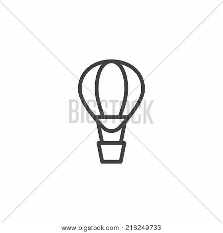 Hot air balloon line icon, outline vector sign, linear style pictogram isolated on white. Airballoon adventure fly trasnport symbol, logo illustration. Editable stroke