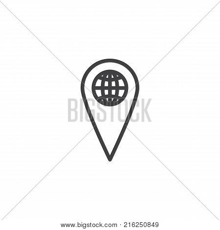World map pointer line icon, outline vector sign, linear style pictogram isolated on white. Global location symbol, logo illustration. Editable stroke