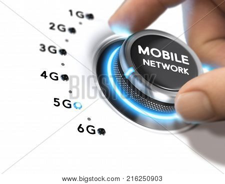 Hand turning a knob over white background and selecting the 5G mobile network generation. Composite image between a hand photography and a 3D background.