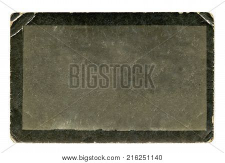 Vintage blank old black and white photo isolated on white background