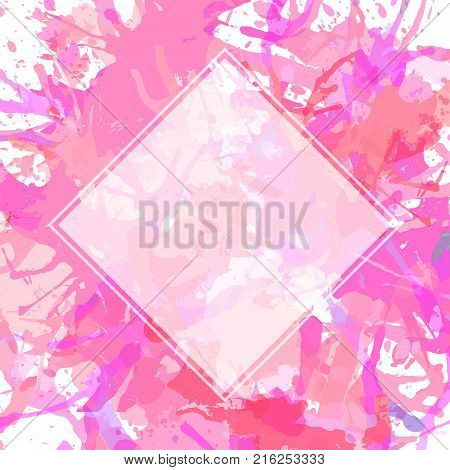 Template with semi-transparent white square over pink pastel colored artistic paint splashes ready for your text.