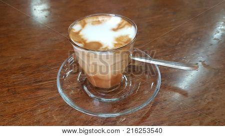 Addis Ababa Ethiopia - October 2017: Macchiato coffee in the Tomoca coffee house