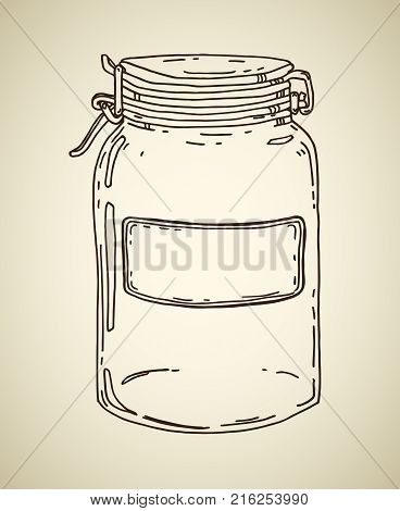 Glass jar with blank label. Vector hand drawn vintage illustration. Contour sketch in brown isolated over beige.