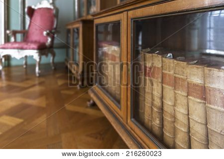 Berlin, Germany - March 2017:  in the bibliotheque of Charlottenburg Palace