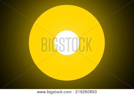 Yellow white shiny neon glowing circles on black background. Abstract illustration with glowing round lights.