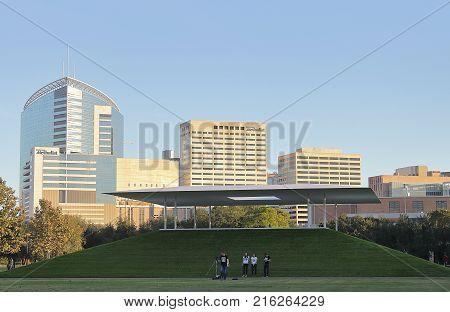 HOUSTON, TEXAS - NOVEMBER 24, 2017: James Turrell's Skyspace in Rice University, Houston, Texas