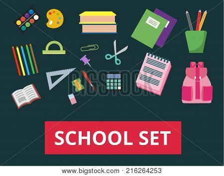 A set of school supplies. Back to school concept. All that is needed to create a banner or poster for the sale of office supplies or other school supplies. Vector illustration.