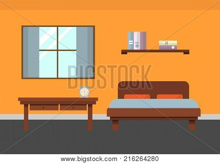 Cozy bedroom interior in the style of flat. Includes a bed, a bookshelf, a table with an alarm clock and a large window with curtains. Can be used as a background. Vector image.