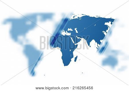 Blue world map partially blurred background can be used for finance presentations, news backdrop, or corporate annual report. EPS10.